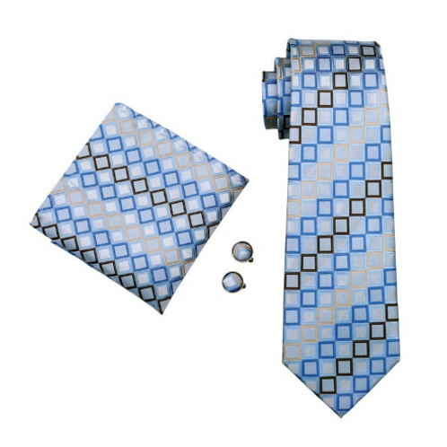 CHAD CHECKZ~TIE/SQUARE/CUFF SET
