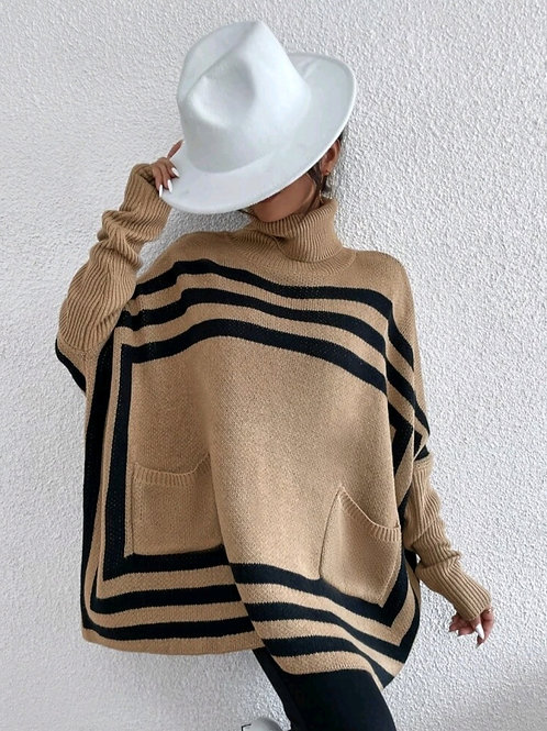 FRONT POCKETED STRIPED SWEATERZ