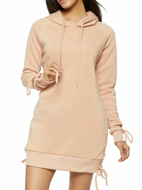 COMFORT LACE UP HOODED SWEATSHIRT DRESS