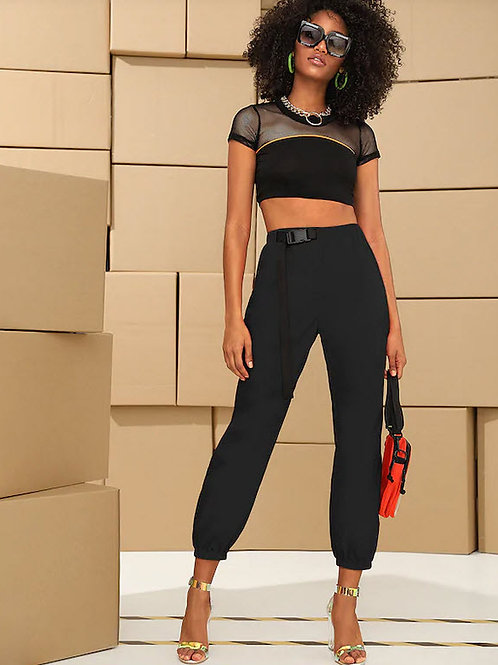 PUSH BUCKLE BELTED CROP PANTS