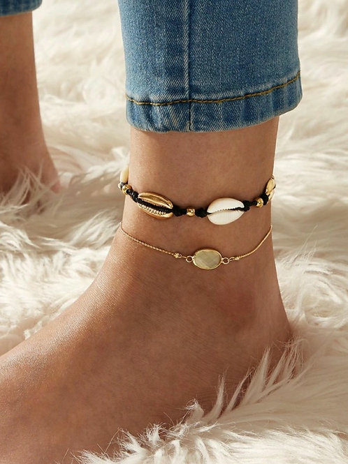 BLACK GOLD COWRY SHELLS ANKLET ~2 piece