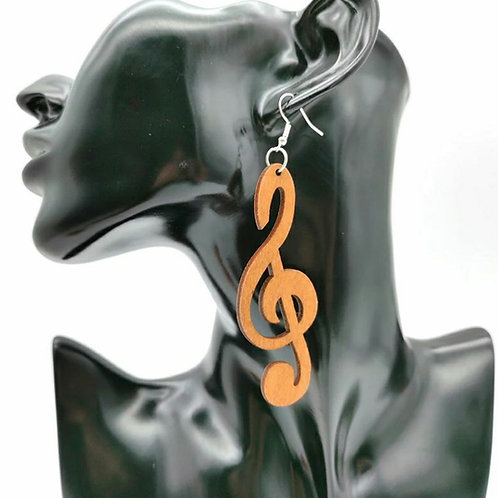 TREBLE CLEF ENRICHED WOOD EARRINGZ