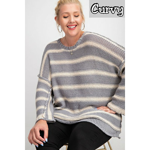 ROOMEY OVERSIZED STRIPED KNITTED PULLOVER~Plus