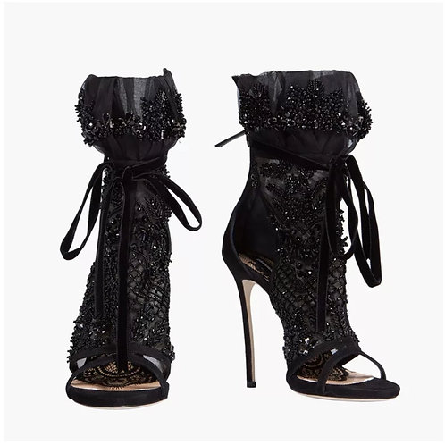 BLACK LACE PEEP TOE SUMMER BOOTZ