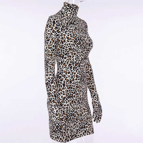 CHEETAH LONG SLEEVE BODYCON DRESS