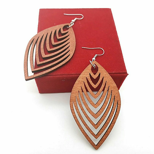 FEATHER ENRICHED WOOD EARRINGZ