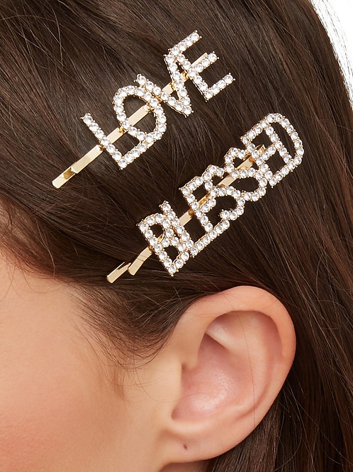 HAIR ADORNMENT CLIPZ ~ LOVE/BLESSED