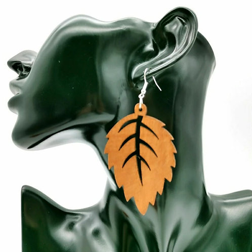LEAF ENRICHED WOOD EARRINGZ