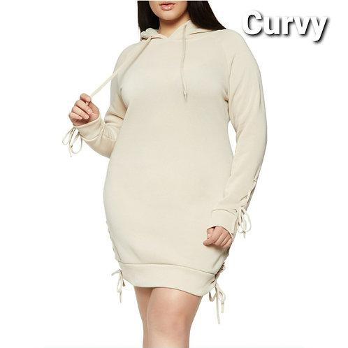 PLUS~ COMFORT LACE UP HOODED SWEATSHIRT DRESS