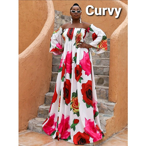 EFFORESCENT SHIRRED BARDOT DRESS~Plus