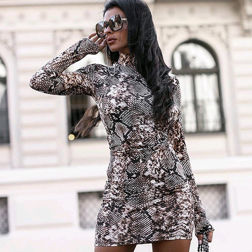 SNAKE PRINT BODYCON FITTED MOCK NECK DRESSEZ