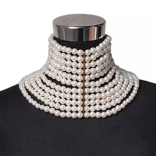 LATTER OF PEARLS STACKED NECKLACE