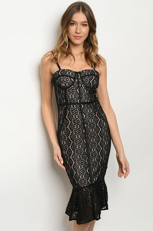 BLACK LACE NUDE FITTED DRESS