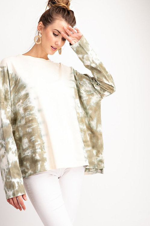 PINK & OLIVE STONE WASHED LONG SLEEVE PULLOVER