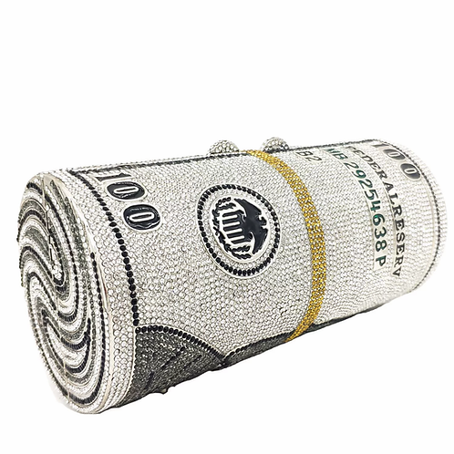 MONEY ROLL CRYSTALS CASUAL CLUTCH