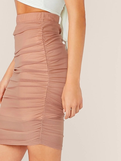 RUCHED DETAIL PENCIL SKIRT