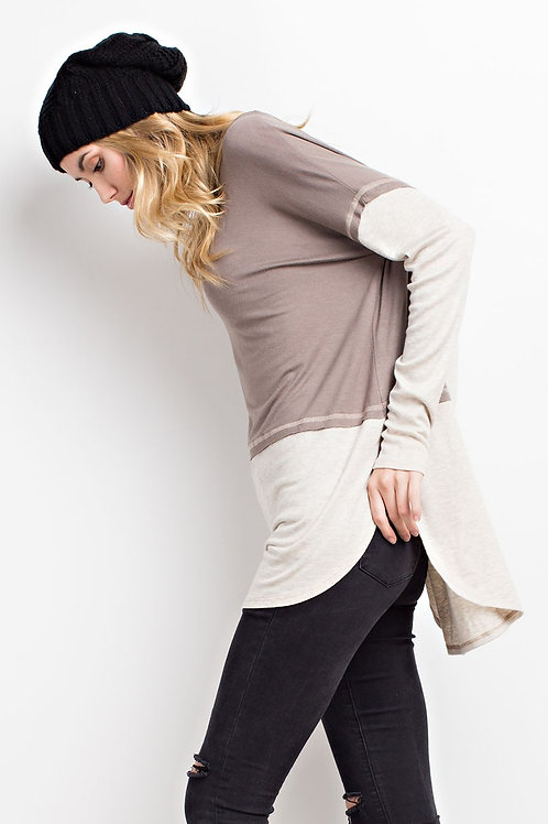 SO SOFT SLOUCHY COLOR BLOCK TUNIC