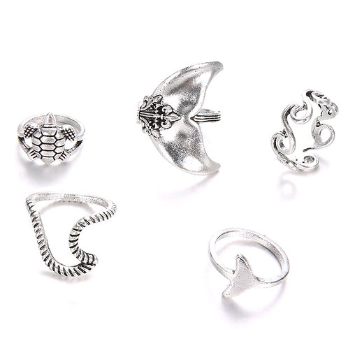 VINTAGE TURTLE FISH TAIL KNUCKLE RINGZ~5 Piece