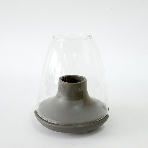 Ceramic candle holder with glass dome (l), grey