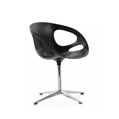 RIN chair with fixed seat upholstered in black