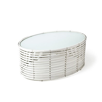 Lolah - Oval Coffee Table in white - L, Outdoor Version