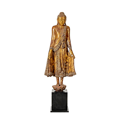 19th century mandalay style wooden standing buddha with cert
