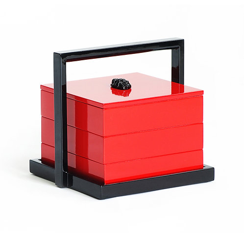 Glossy lacquer box with jade in red color (3 level)