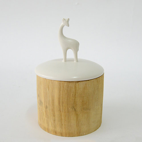 Wooden jar w/ ceramic lid, deer, h200