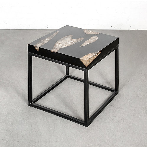 Aqua square coffee table with black iron base - black