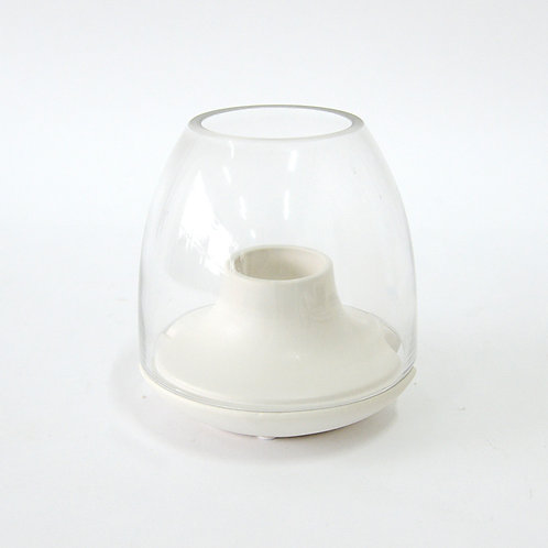 Ceramic candle holder with glass dome (s), white