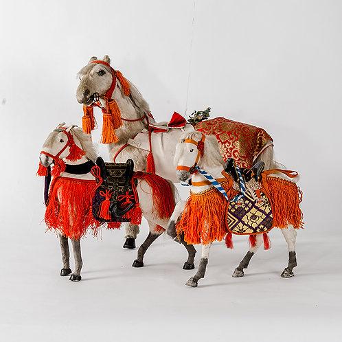 Showa vintage white horse - set of 3