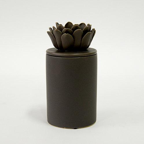 Grey ceramic jar with ceramic flower lid (tall)