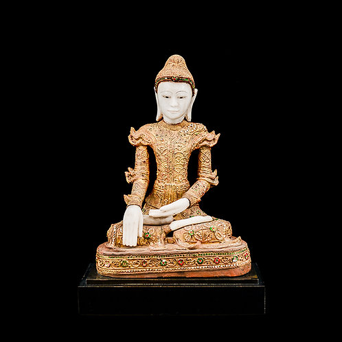 19th century Mandalay wooden and alabaster sitting Buddha - with cert