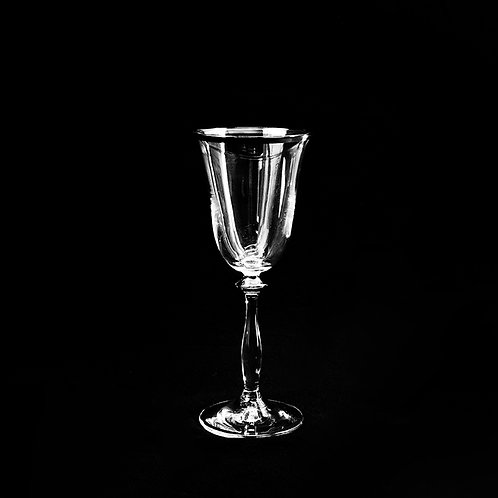 A.G.L. crystal wine glass with silver rim