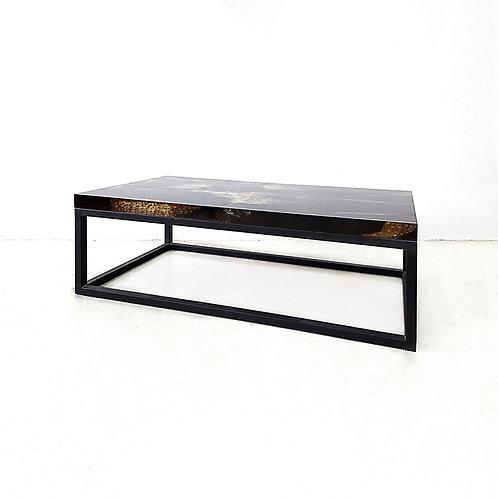 Aqua coffee table with black iron base - w1000, black