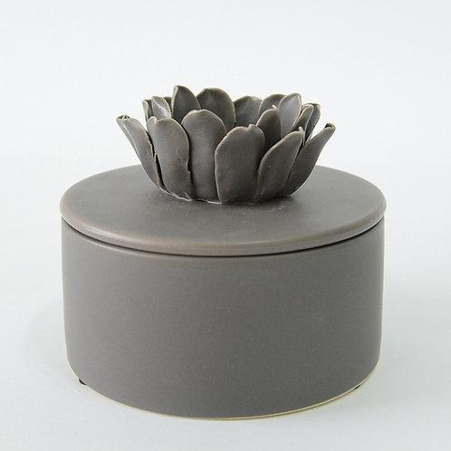 Grey ceramic jar with ceramic flower lid (flat)