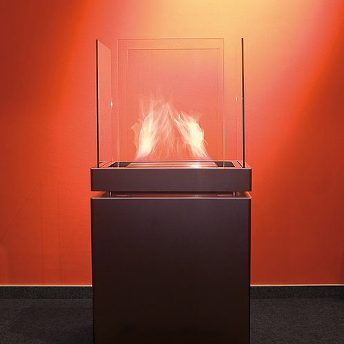 Semi flame fireplace with black cabinet & glass (outdoor)