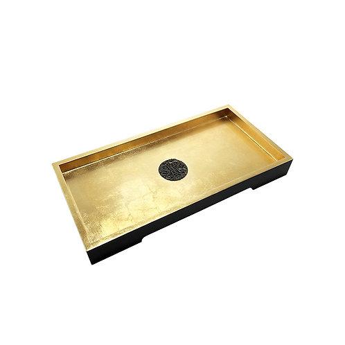 Gold prosperity tray (rectangular) in gold/ black