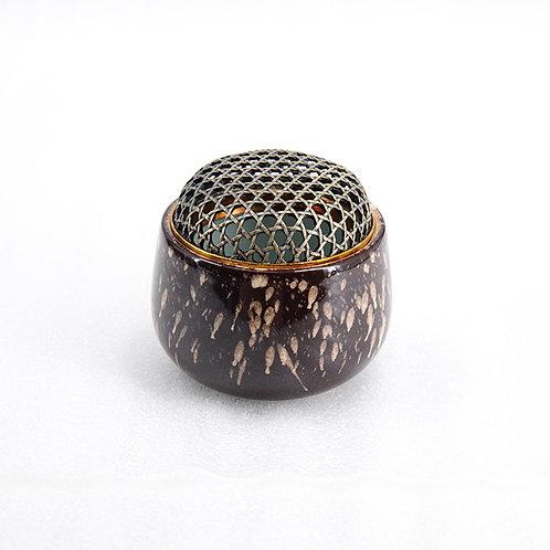 Ceramic incense burner w/ bronze lid, fireworks