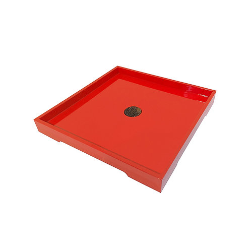 Good fortune tray (square) in red color