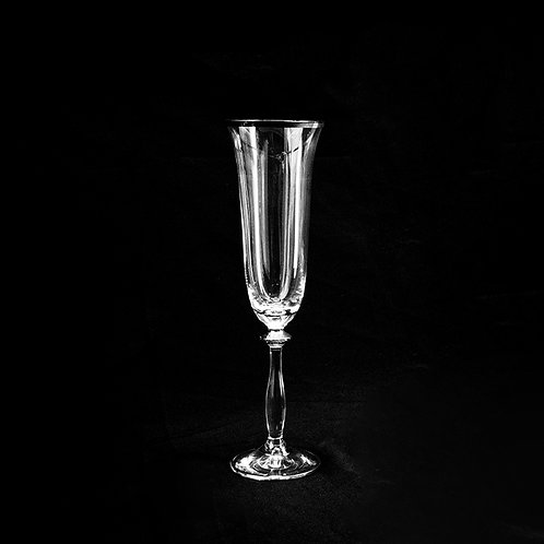 A.G.L crystal flute glass with silver rim