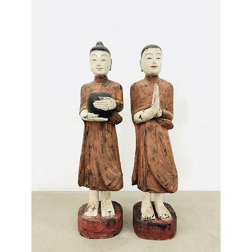 Old wood buddha and monk (set of 2)