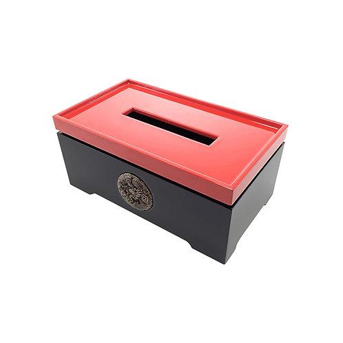 Prosperous tissue box in red/ black