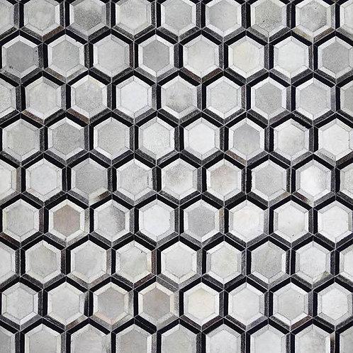 Cow hide in honeycomb rug
