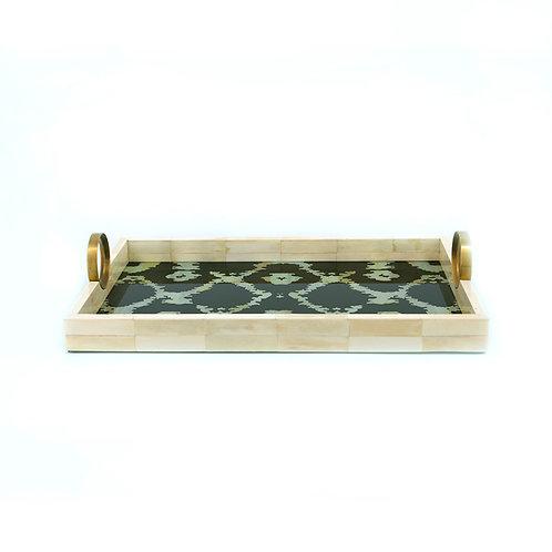 White bone rectangle tray w/ handle, m