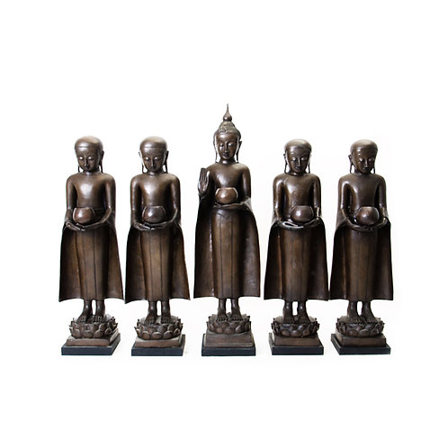 Bronze standing monk with stand