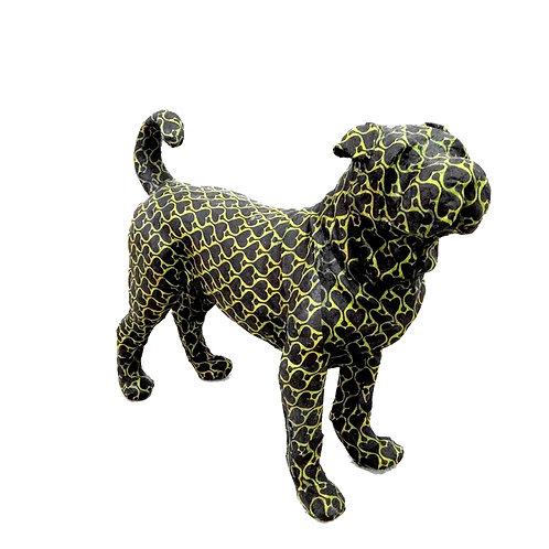 Paper mache shar pei dog - green / black hearts pattern