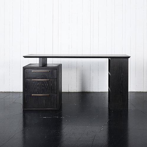 Stretch desk in ash wood drawer