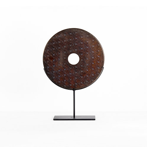 Brown disc in pattern w/stand (dia400)