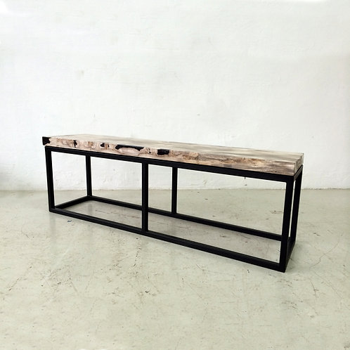 Petrified wood rectangular bench w/iron base